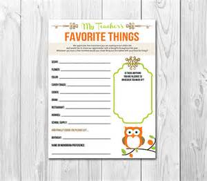 Teacher Favorite Things List Printable