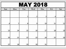 Printable May 2018 Calendar Blank Printable Templates