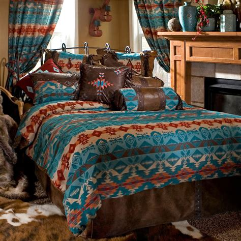 turqusoise rustic western cowboy comforter bedding set