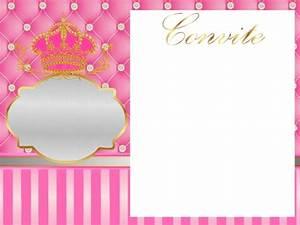 Corona Dorada en Fondo Rosa con Brillantes: Invitaciones para Fiesta de 15 Años para Imprimir