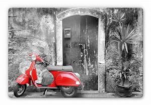 Schwarz Weiß Bilder Mit Farbe Städte : glasbild red scooter ein mopped als dekoration f r ihr zuhause wall ~ Orissabook.com Haus und Dekorationen
