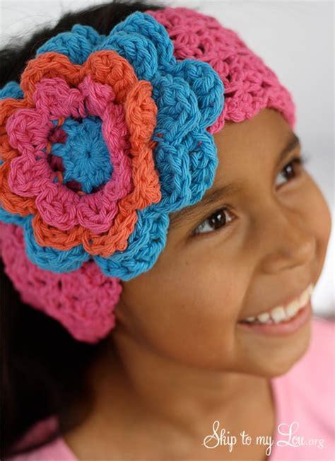 crochet flower headband skip   lou