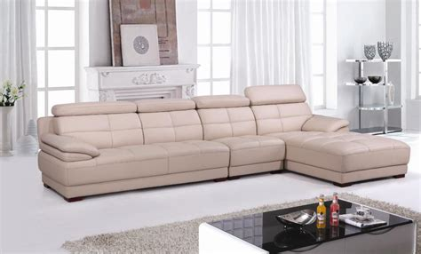beige leather top grain cattle leather lshaped sectional