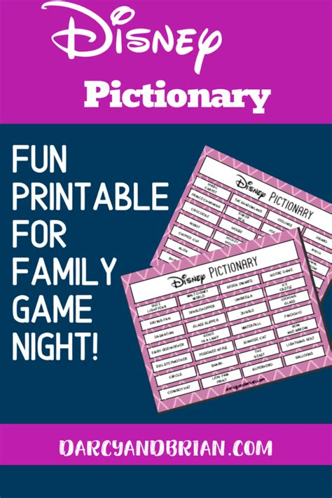 Free Printable Disney Themed Pictionary Game For Kids