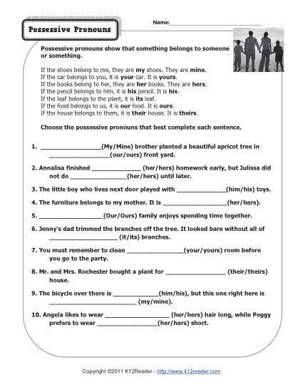 pronoun worksheets 3rd grade possessive pronouns pronoun worksheets
