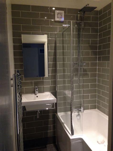 sage metro tile small bathroom   shaped shower bath