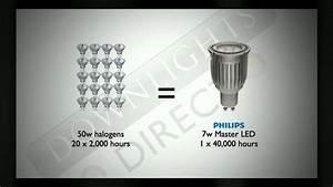 Halogen Deckenfluter Led Umrüsten : 50w halogen vs 7w led bulbs downlights direct youtube ~ Watch28wear.com Haus und Dekorationen