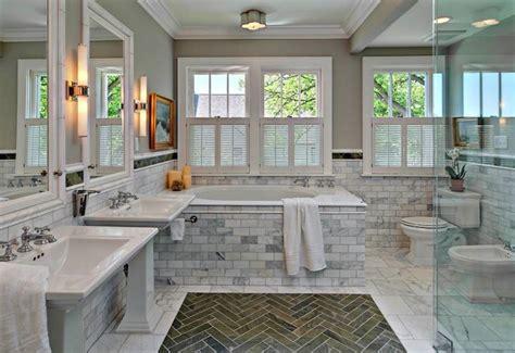 pedestal sinks transitional bathroom