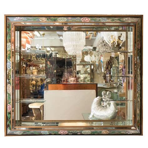 Hollywood Regency Shadow Box Wall Mirror With Glass