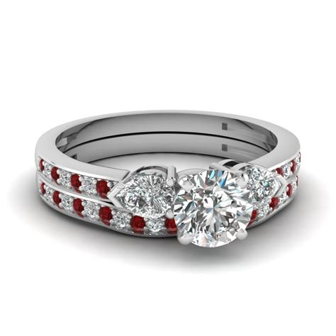 three 1 carat cut accents wedding ring sets with ruby in 950 platinum