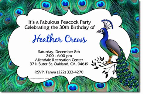 peacock birthday invitations candy wrappers