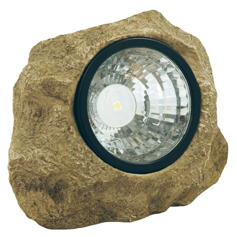 moonrays solar powered led poly resin outdoor rock