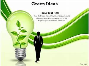 Technology Roadmap Powerpoint Template Green Ideas Bulb Recycle Rechargeable Enegry Slides