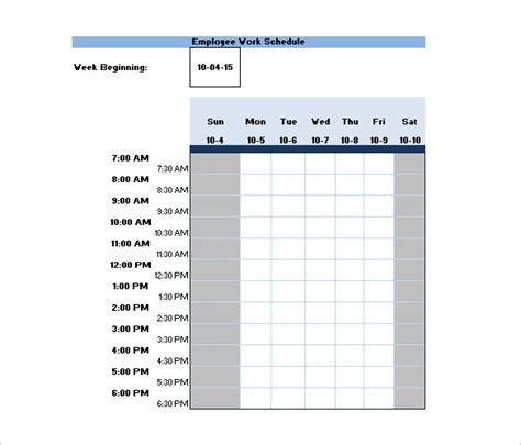 shift schedule template   sample  format
