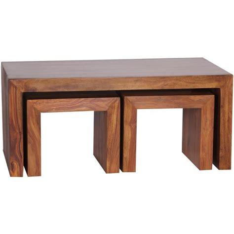 table basse en bois massif pas cher table basse en bois massif de palissandre avec 2 tabourets h 40 x l 110 x p 60 cm achat vente