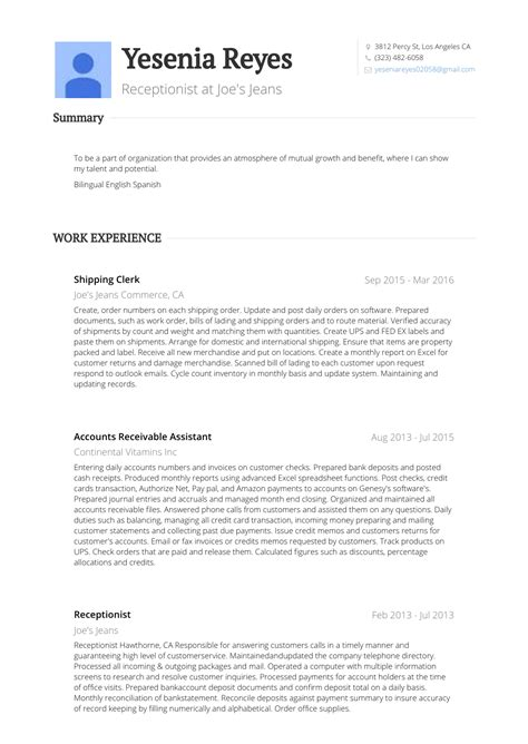Shipping Clerk Resume by Shipping Clerk Resume Sles Templates Visualcv