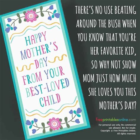 loved child sarcastic mothers day card