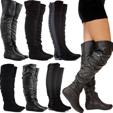 womens boots no heel no heel thigh high boots boot yc