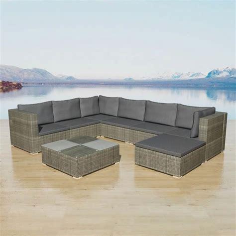 outdoor xl lounge rattan set corner sofa table patio