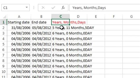 calculate days monthsyears datesmp youtube
