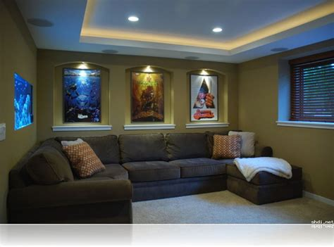 alluring small home theater room ideas l shape grey