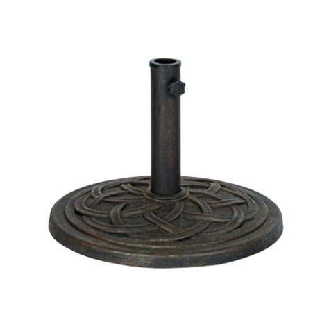 Ace Hardware Patio Umbrella Base round cast stone umbrella base 18in in bronze umbrella