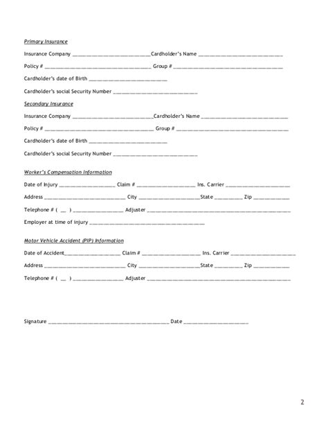 insurance verification form for chiropractic office new jersey pain care center new patient form
