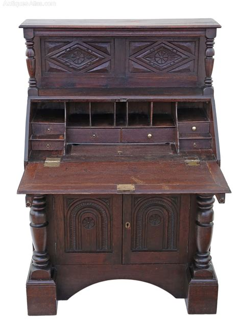 oak bureau desk georgian carved oak bureau desk writing table antiques atlas