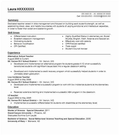 Alternative Resume Exles by Alternative School Resume Sle Livecareer