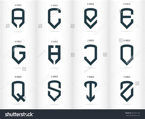 Letters Form Shields Logos Set Vector Stock Vector
