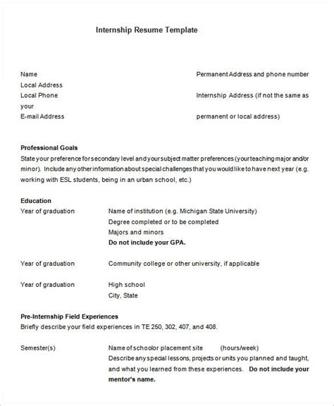 Template Of Resume For Internship by Internship Resume Template 11 Free Sles Exles