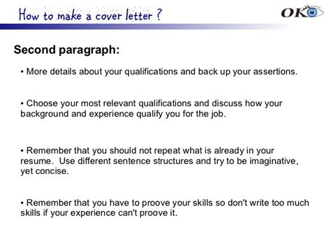 cover letter second paragraph sle