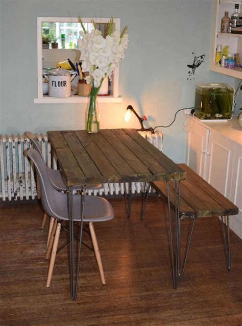 rustic industrial kitchen table  chairs  bench