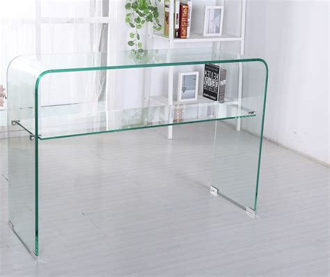 glass console table with shelf odeon bent glass console table with shelf