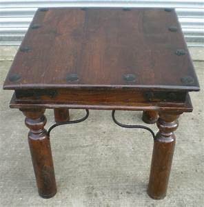 Rustic style small stained beech coffee table with metal for Small beech coffee table