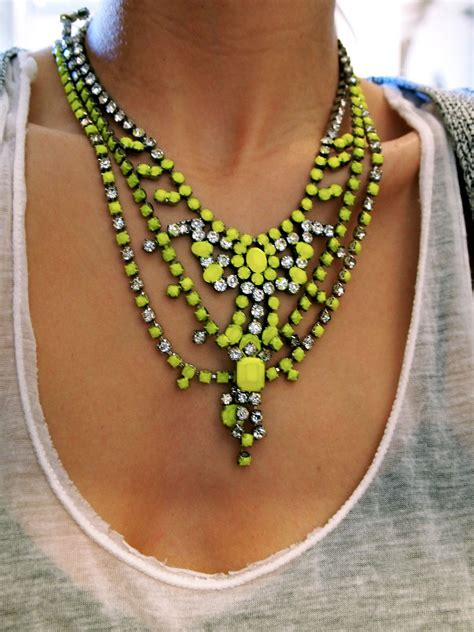 necklace neon diy binns tom necklaces statement diamonds cool jewelry yellow jewellery crystal collares bright neck jewel jewels crystals lime