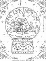 Coloring Christmas Adult Ball Crystal Vector Decorations Holiday Line Card Outdoor Snow Symbols Greeting Trees sketch template