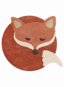 Tapis Rond Enfant : tapis enfant rond renard doux marron ~ Teatrodelosmanantiales.com Idées de Décoration