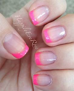 Hot neon pink tips – summer french manicure – HappilyEveRose