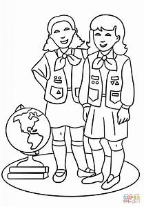 Brownie Girls Scout Coloring Page Free Printable