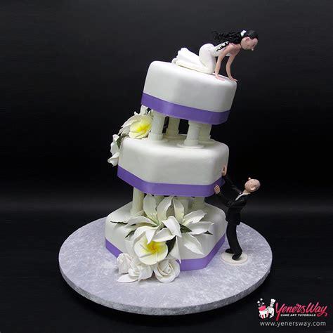 tier chocolate waterfall wedding cake yeners