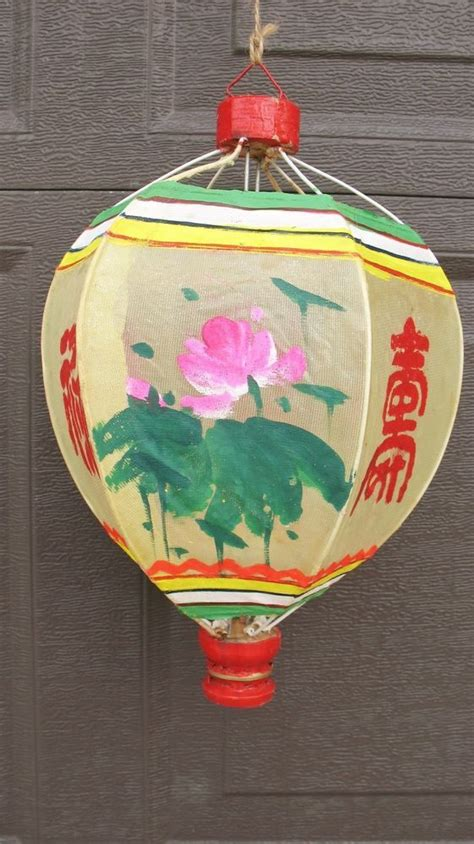 vtg asian chinese hand painted floral lantern wood