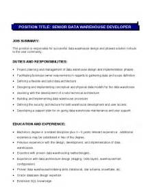 Technology Resume Template Senior Data Warehouse Developer Description Hashdoc