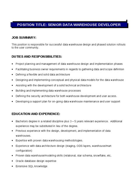 senior data warehouse developer description duties and