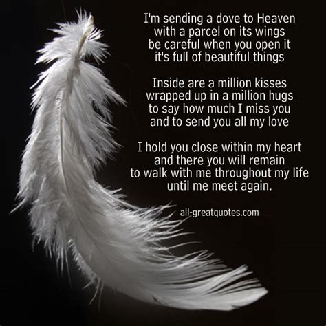 I Would Be Happy To Send You My Resume by I M Sending A Dove To Heaven In Loving Memory Poem Cards Heavens Birthdays And Grief