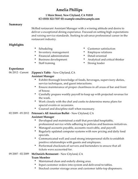 sle resume assistant manager fast food assistant manager resume exle restaurant bar sle resumes livecareer