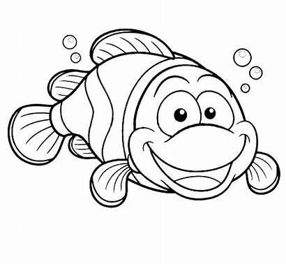 Fish Clown Coloring Pages Happy Drawing Printable