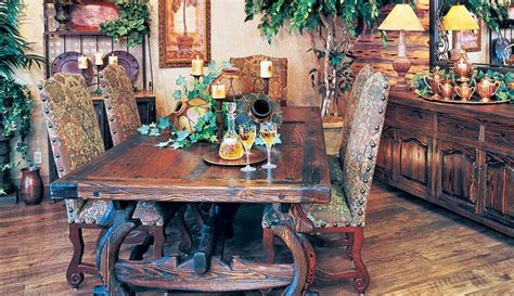 hill country dining room table chairs with matching bureau and decor items rustic elegance
