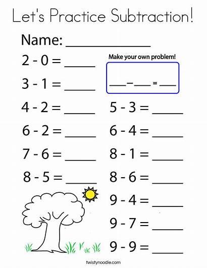 Subtraction Practice Coloring Let Lets Cursive Built