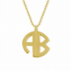 gold plated block letter monogram necklace mynamenecklace With block letter monogram necklace